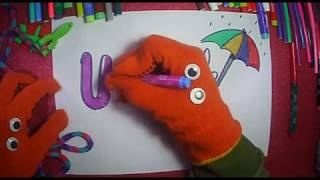 """How to draw  """"U"""" letter vowels for kids (Happyhand)"""