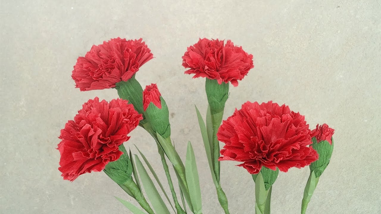 How To Make Red Carnation Paper Flower From Crepe Paper   Craft     How To Make Red Carnation Paper Flower From Crepe Paper   Craft Tutorial  2    YouTube