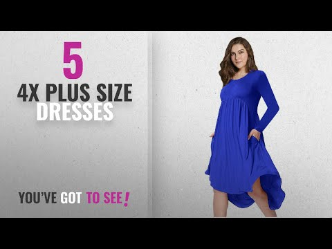 Top 10 4X Plus Size Dresses [2018]: AMZ PLUS Plus Size Scoop Neck Long Sleeve Pleated Tunic Casual