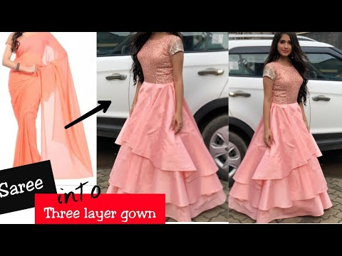 Convert Old Saree Into Long Gown Dress 7c Diy Tagged Videos On