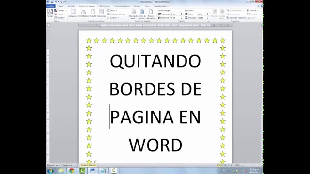 Como quitar bordes de pagina de word - YouTube