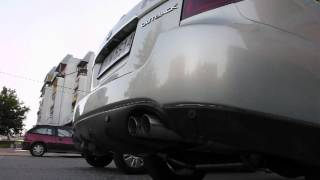 custom quad tip exhaust with k2gear replica header legacy outback h6
