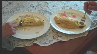 Best Omelette W/ Portobello Spinach Onion Cheese Recipe How To Mushroom Oil Egg Omelet Portaballa
