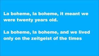 La Boheme English lyric video