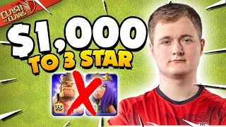 I Challenged the Worlds MVP to 3 Star for $1,000 (Clash of Clans)