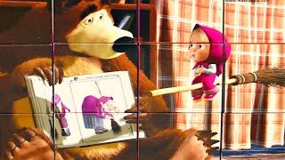 Маша и Медведь Новая Метла собираем кубики пазлы для детей с героями мультика Маша и Медведь