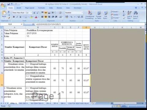 Aplikasi KKM (Kriteria Ketuntasan Minimal) SD/MI Format Microsoft Excel