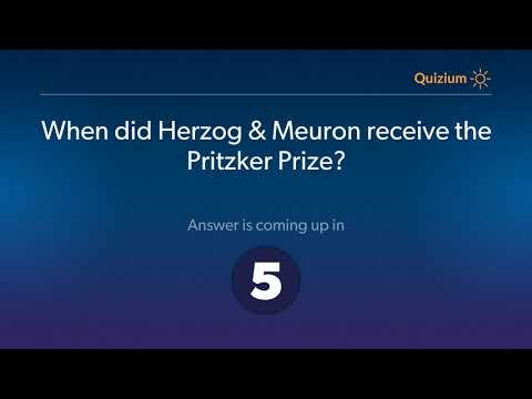 When did Herzog & Meuron receive the Pritzker Prize?   Jacques Herzog & Pierre de Meuron Quiz