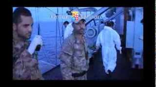 Marina Militare - Recupero naufraghi ripreso dall'elicottero EH101 della Marina 11 ottobre 2013