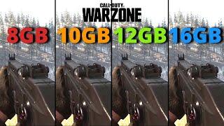 Cod Warzone   8gb vs 10gb vs 12gb vs 16gb   Ram Test   2021
