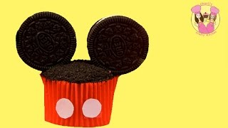 MICKEY MOUSE CUPCAKES - Make cute & easy disney cookie cupcakes - birthday treat