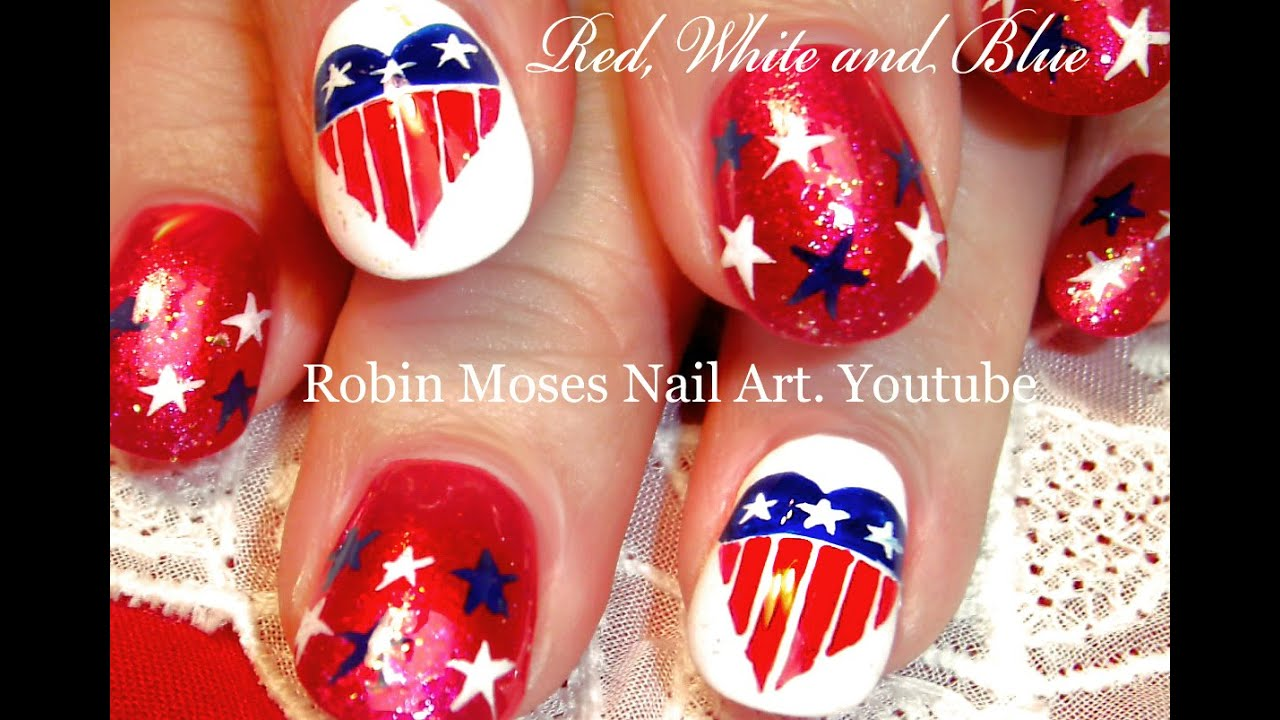 4th Of July Nails Diy Red White And Blue Nail Art Design Tutorial