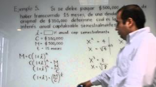"""Interés compuesto. Ejemplo 5. Cálculo de la tasa de interés """"i"""""""