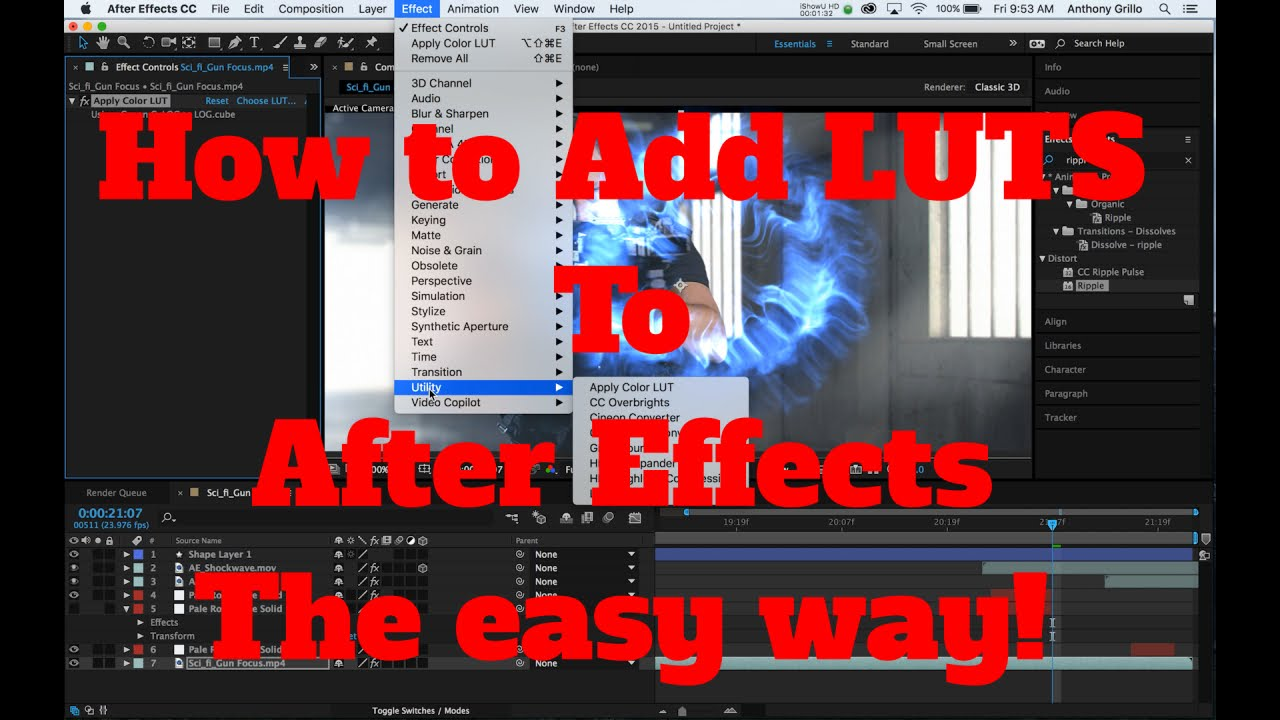 How To Add LUTS Into After Effects CC.  The EASY way.