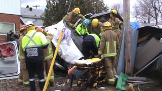 Bad Accident in The Sault - Firefighters and EMS Work to free driver.