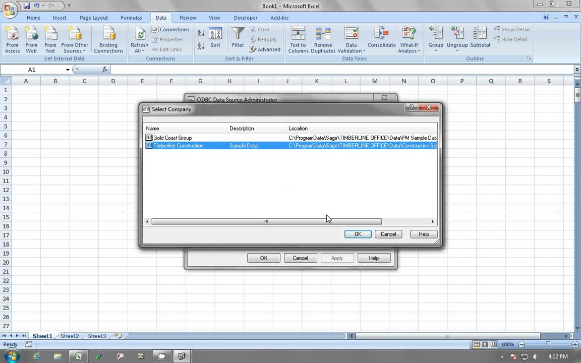 Sage 300 CRE Estimating - Importing a trial balance into Excel using ODBC