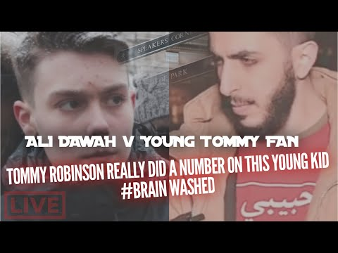 YOUNG BRAIN WASHED TOMMY ROBINSON FAN #AliDawah | SPEAKERS CORNER