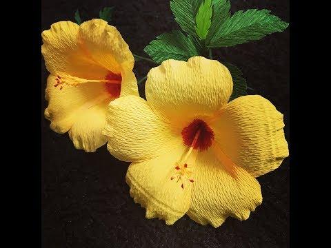 Bella's Craft/ How to make Hibiscus flowers by crepe paper/Hướng dẫn làm hoa dâm bụt bằng giấy nhún