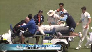 Phil Hughes Australian star cricketer struck in head by ball at SCG