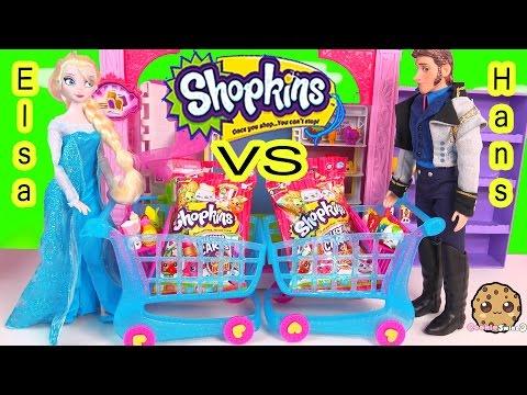 Disney Frozen Queen Elsa VS Prince Hans Unboxing 2 Shopkins Collector Card Blind Bags while Shopping