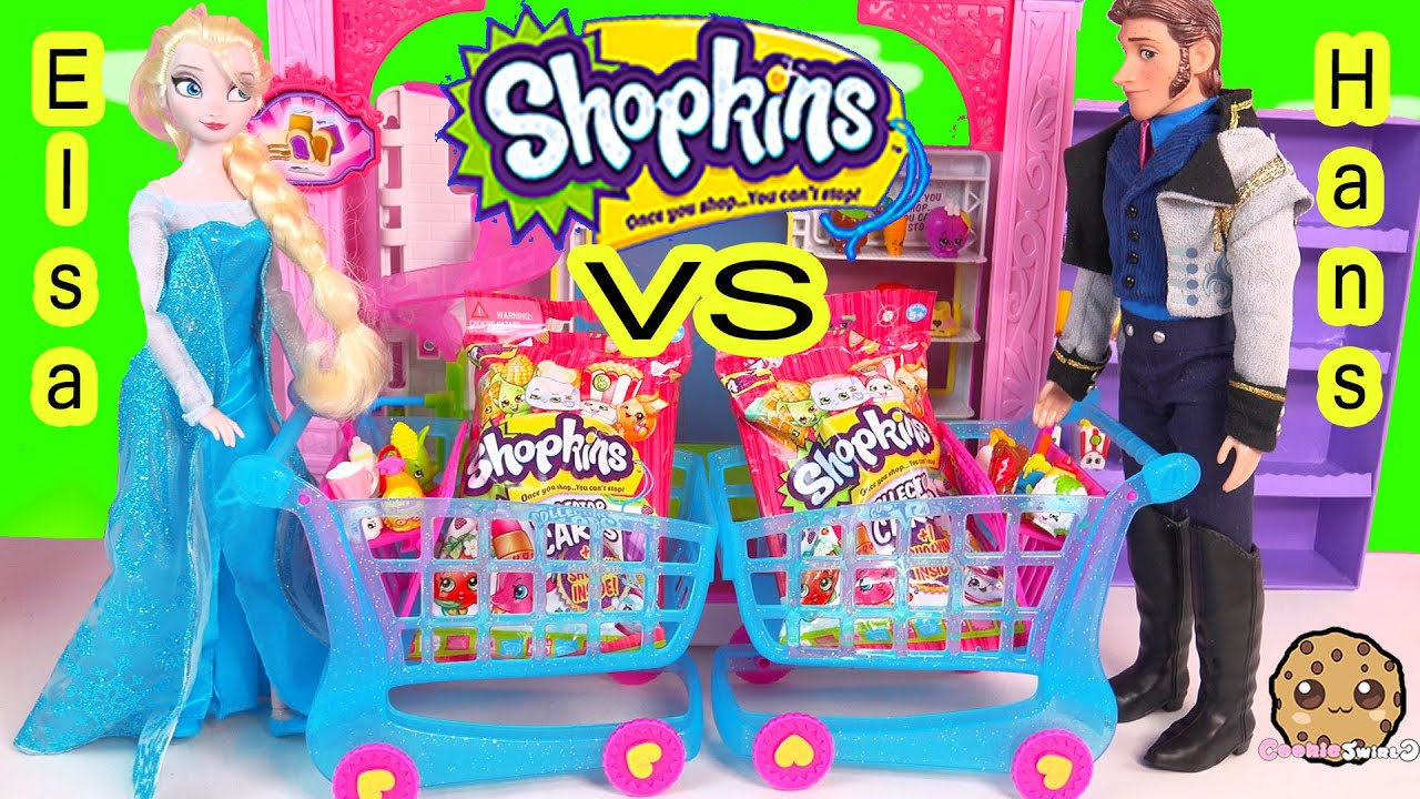 Disney Frozen Queen Elsa VS Prince Hans Unboxing 2 Shopkins Collector Card  Blind Bags while Shopping - YouTube
