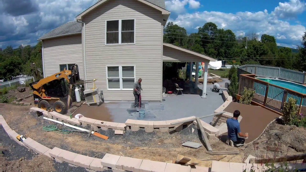 Time Lapse Stamped Concrete Patio Seamless Old Granite