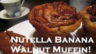 Nutella Banana Walnut Muffin Recipe - Give It A Nutella Swirl!
