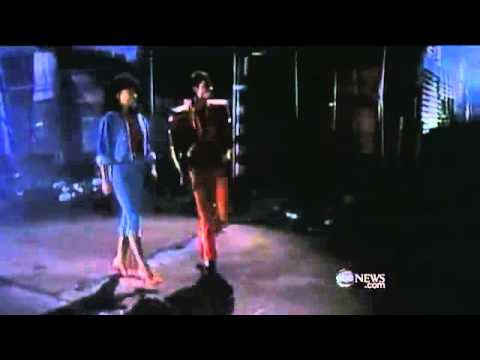 Michael Jackson & Ola Ray fling during thriller video