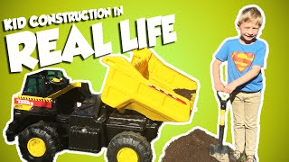 KID CONSTRUCTION In Real Life with Tonka Dump Truck Power Wheels Style Video