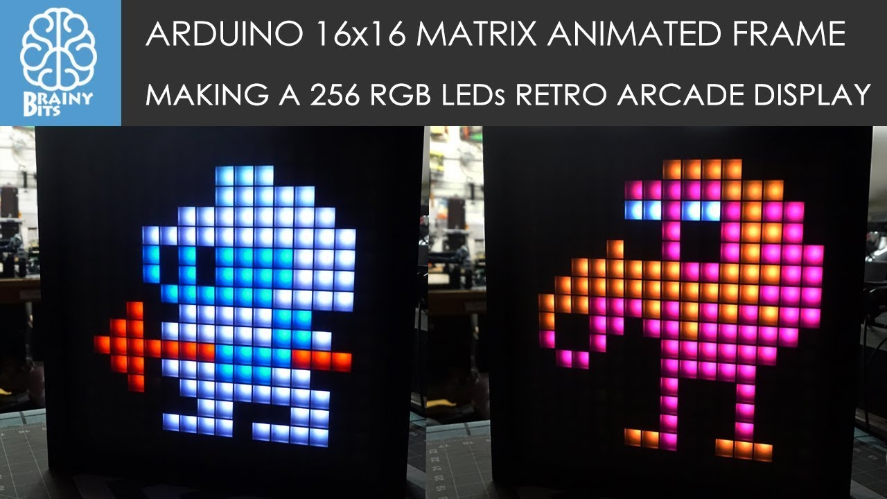 Arduino 16x16 WS2812B RGB Matrix Animation Picture Frame - Tutorial