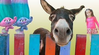 Trolls Satin and Chenille Together Funny video for children with toys
