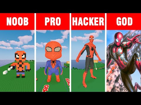 Minecraft NOOB vs PRO vs HACKER vs GOD: SPIDER-MAN  BUILD CHALLENGE in Minecraft
