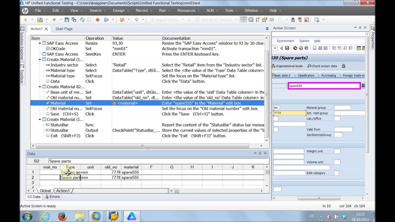 Uft Sample Resume Hp Uft Sap Gui Test Automation Example Transaction Mm01