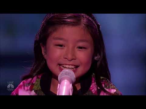 Celine Tam: A Cute Little Girl But When She Opens Her Mouth WOW!! | America's Got Talent 2017