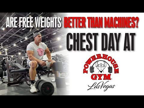 ARE FREE WEIGHTS BETTER THAN MACHINES - CHEST DAY AT THE BRAND NEW POWERHOUSE GYM LAS VEGAS!