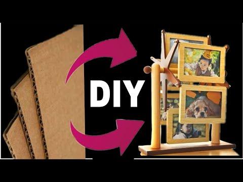 Best use of waste cardboard || Diy cardboard Rotating photo frame