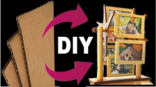 Best use of waste cardboard || Diy cardboard Rotating photo frame