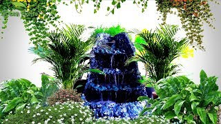 How to Build Waterfall or Water fountain at Home | EASY & SIMPLE Waterfall Making Idea//GREEN PLANTS