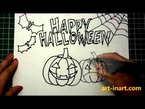 How to draw Halloween pictures step by step - YouTube