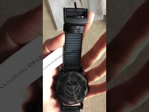 Armani  Men's Watch 1970 Chronograph Black Dial Leather Strap Band