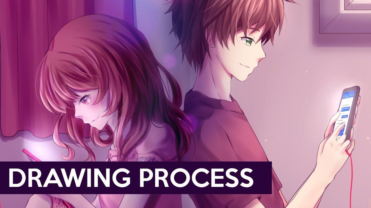 Painttool Sai Long Distance Love Drawing Process Youtube