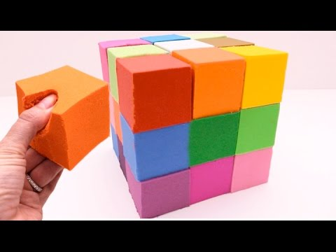 DIY How to Make Giant Kinetic Sand Rainbow Cube Learn Colors and Sizes