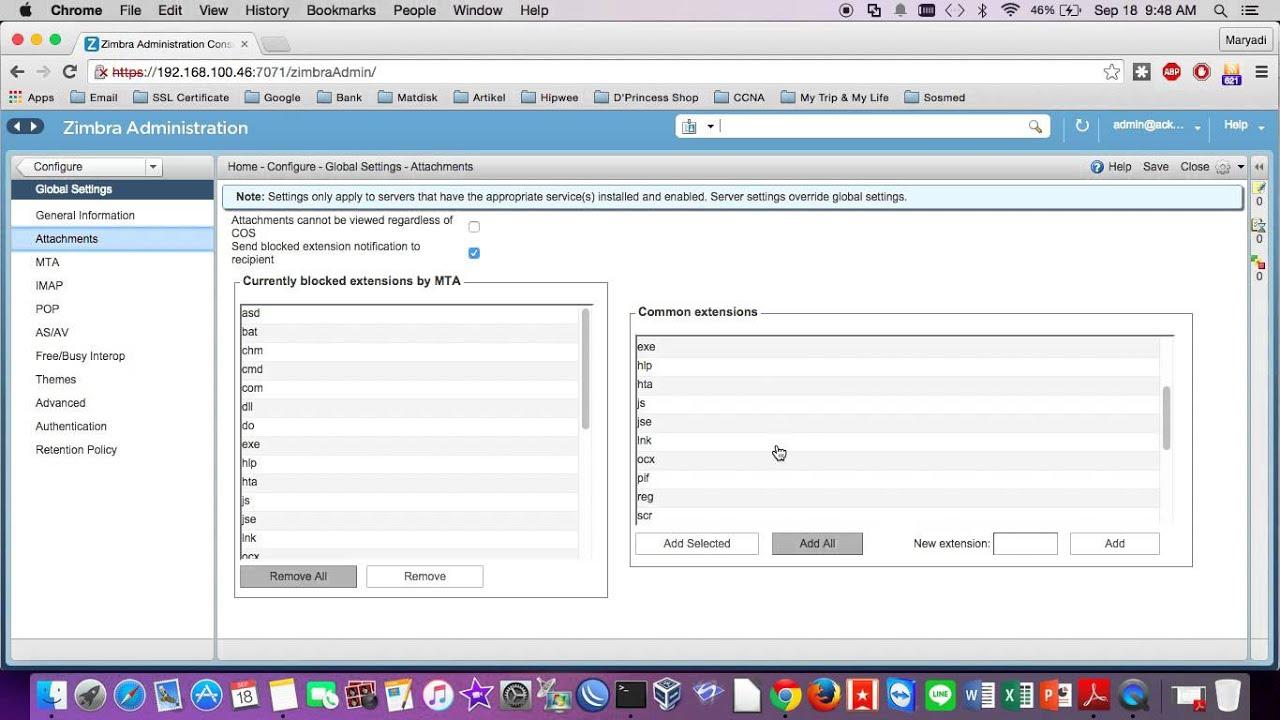 Block Ekstension Attachment on Zimbra Mail Server