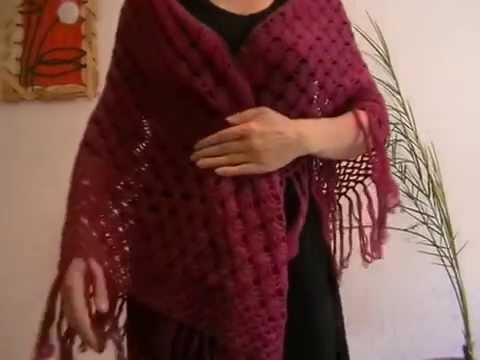 Вязание Шаль бордовая жучки