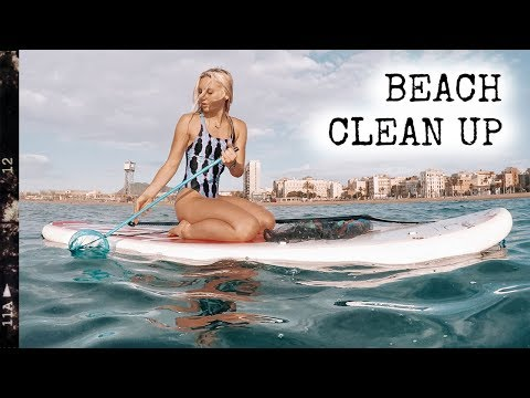 Barcelona beach clean up; 40 bags of trash! | Farahinthesun