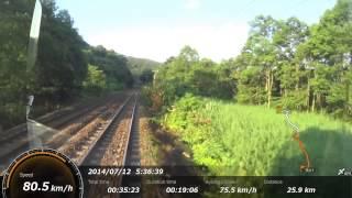 JRの寝台列車、カシオペア展望スイート(展望室)から函館駅発車後から...