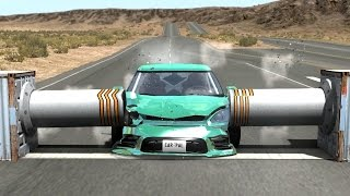Beamng drive - Double Side Bollards car Crashes