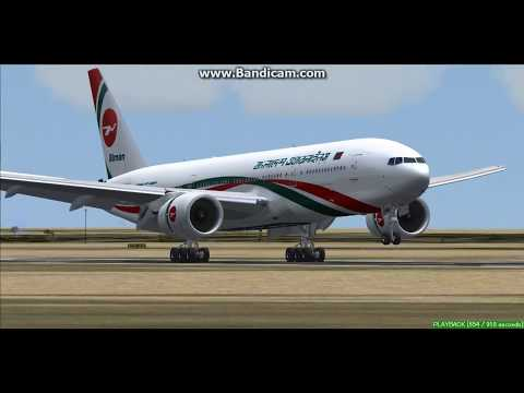 Biman Bangladesh Airlines B777-200 Abu Dhabi International Airport OMAA Landing FS9