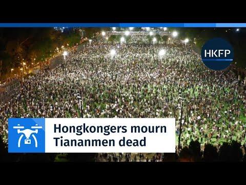 Drone: Thousands of Hongkongers mourn the Tiananmen Massacre dead