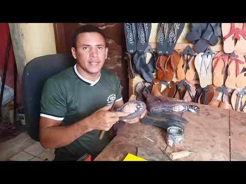 Ensinando como fazer solado de bota com fitão de pneu de carro